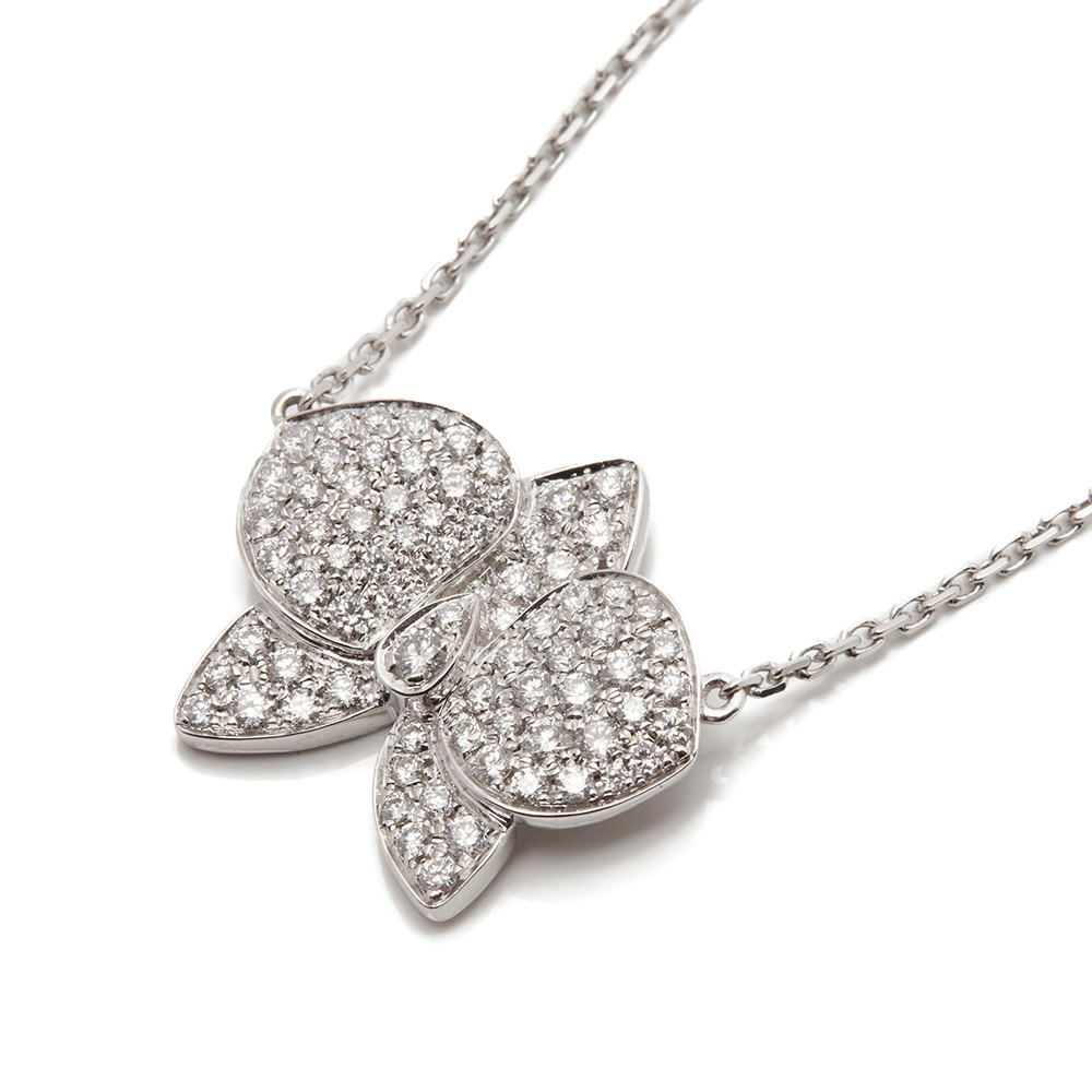 Cartier 18k White Gold Diamond D'Orchidées par Cartier Flower Necklace