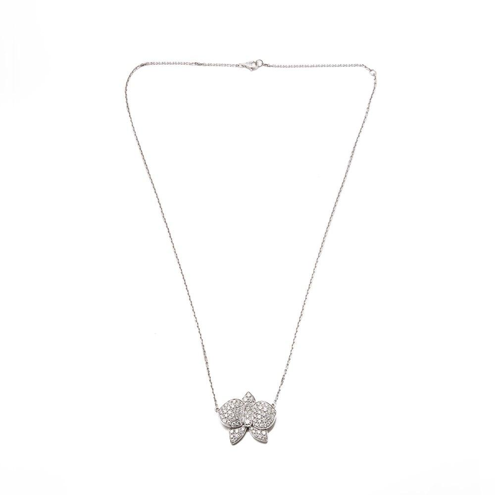 Cartier 18k White Gold Diamond D'Orchidées par Cartier Flower Necklace