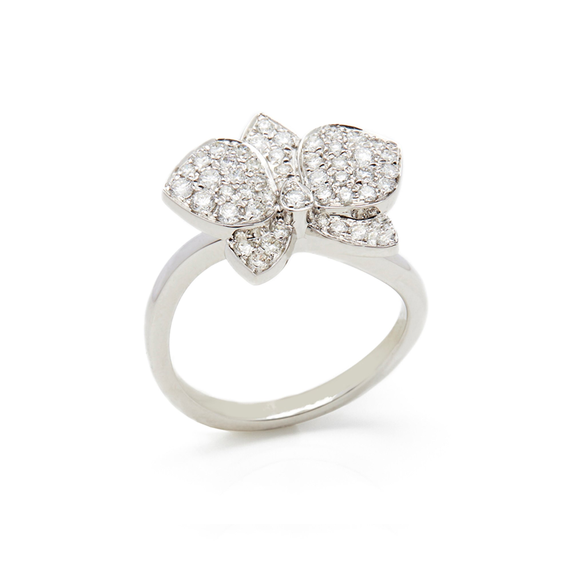 Cartier 18k White Gold Diamond Flower Ring In The Style Of Cartier