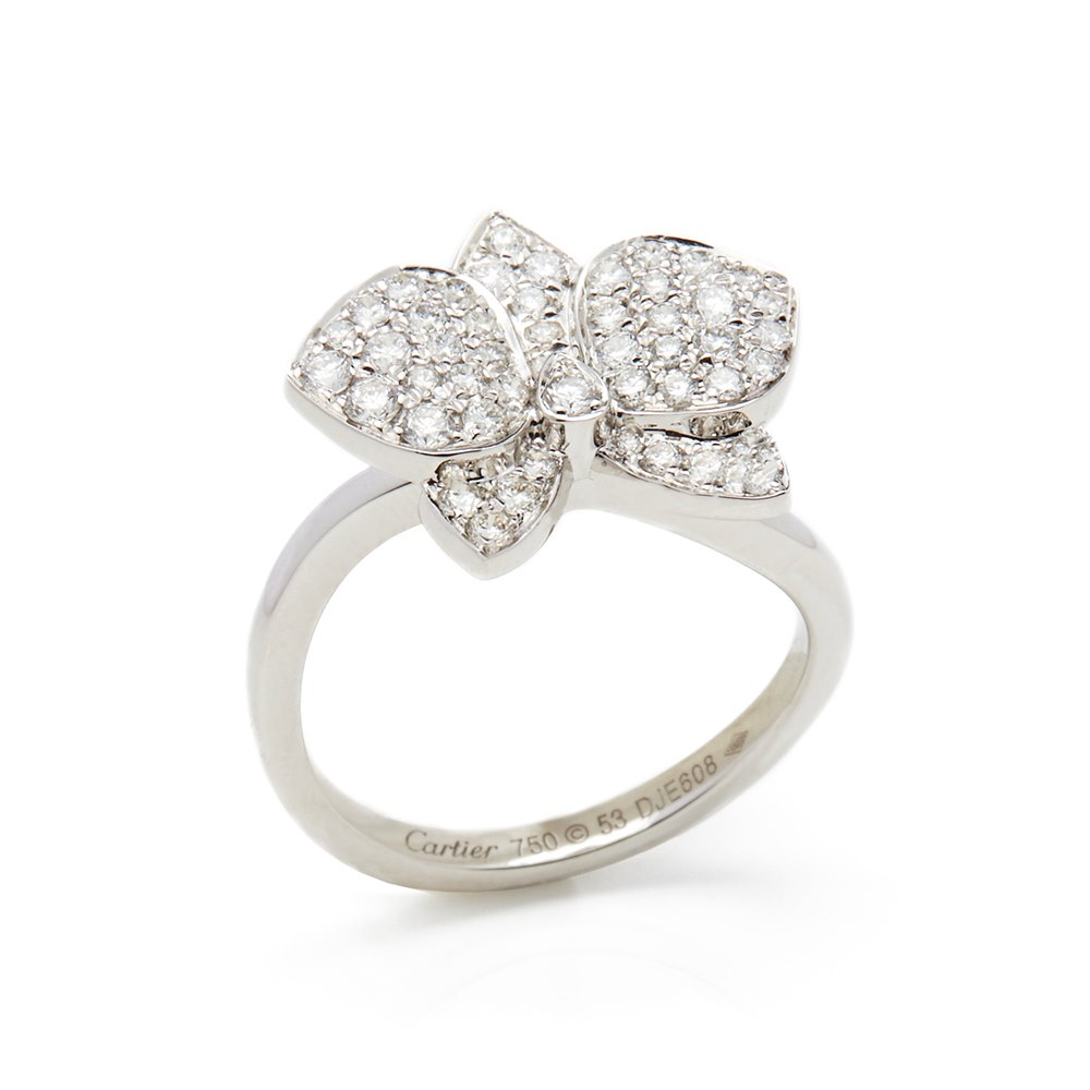 1f9d3c22bcb Cartier 18k White Gold Diamond D Orchidées par Cartier Flower Ring ...