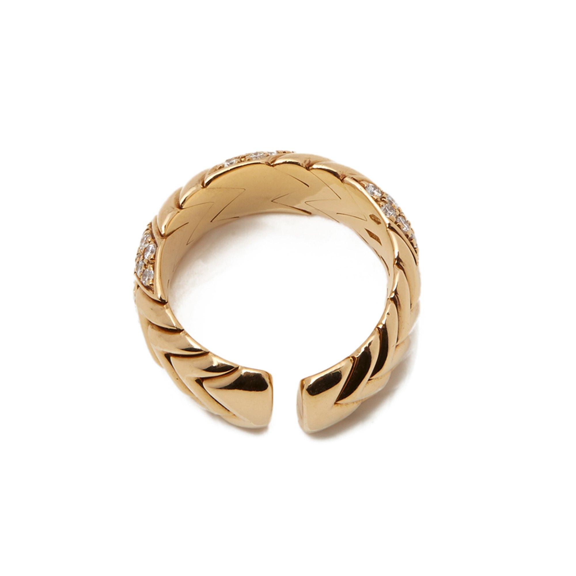 Bulgari 18k Yellow Gold Diamond Spiga Ring