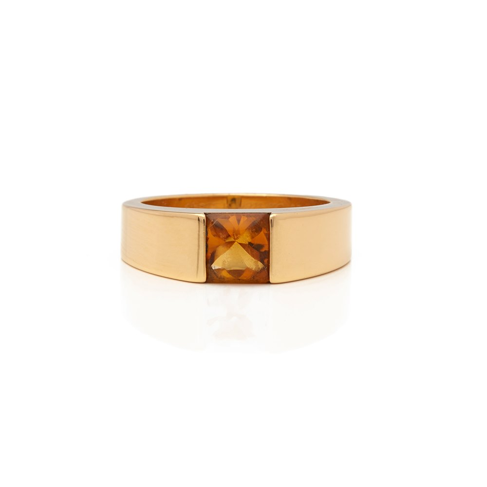 Cartier 18k Yellow Gold Citrine Tank Ring