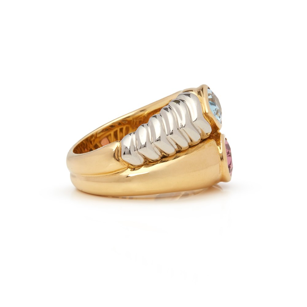 Bulgari 18k Yellow & 18k White Gold Multi-Gem Doppio Ring