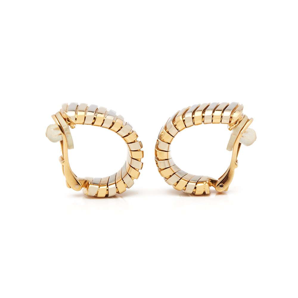 Bulgari 18k Yellow, White & Rose Gold Tubogas Earrings