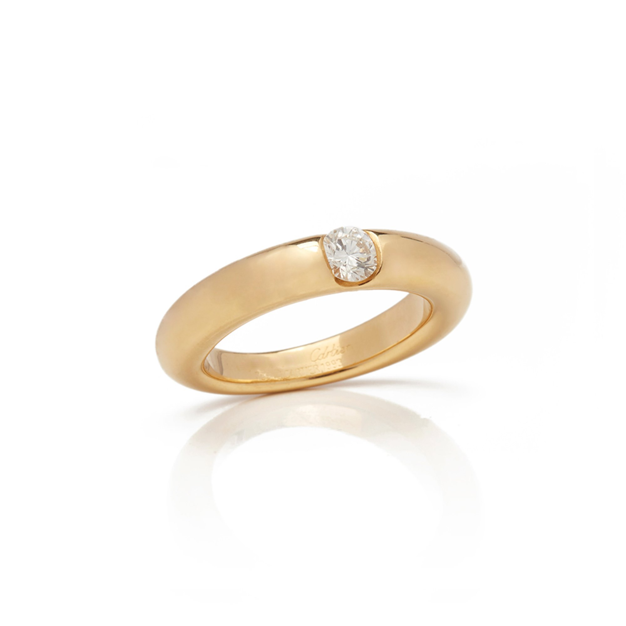 Cartier 18k Yellow Gold Solitaire 0.25ct Diamond Ellipse Ring