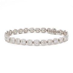 De Beers Platinum Cushion Cut 12.83ct Diamond Aura Bracelet