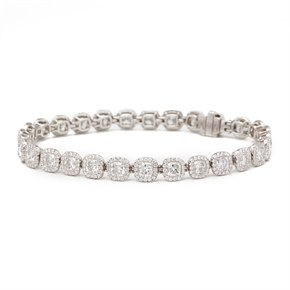 De Beers 18k White Gold Cushion Cut 12.83ct Diamond Aura Bracelet