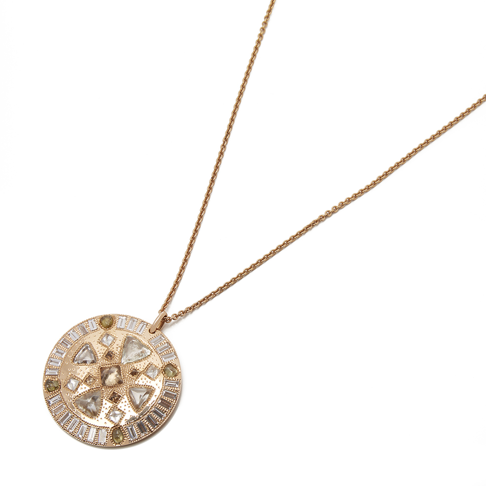 6115b61b70f9c Details about DE BEERS 18K ROSE GOLD DIAMOND HOPE TALISMAN NECKLACE COM1944