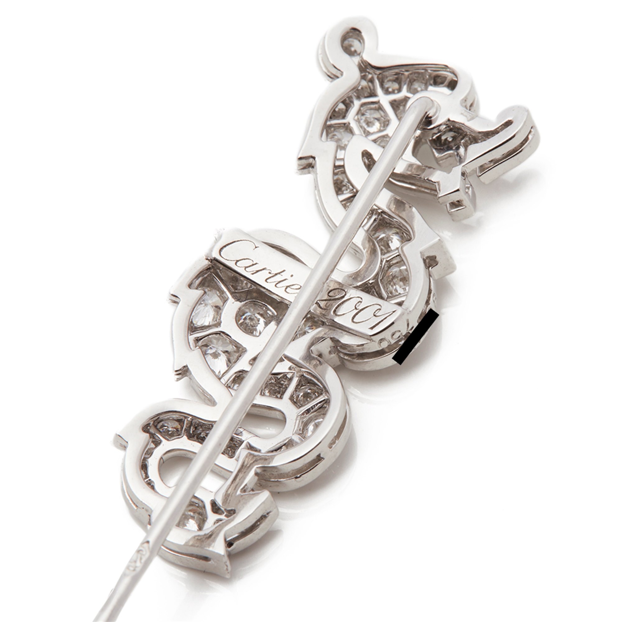 Cartier 18k White Gold Diamond & Coral Dragon Jabot Pin