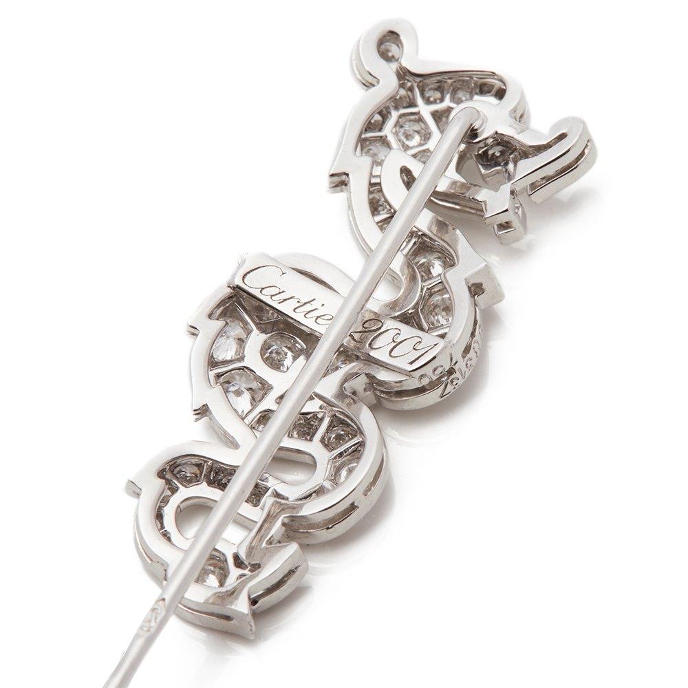 Cartier 18k White Gold Diamond & Coral Dragon Jabot Pin