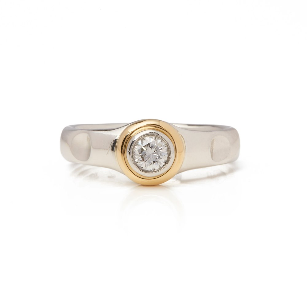 Tiffany & Co. Platinum & 18k Yellow Gold Solitaire 0.45ct Diamond Paloma Picasso Ring