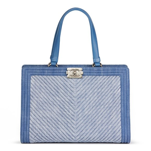 Chanel Blue Chevron Quilted Denim Le Boy Tote
