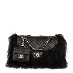 Chanel Black Quilted Lambskin & Mongolian Goat Fur Tibet Flap Bag Micro Charm Set