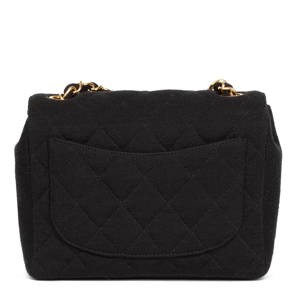 08c202a0933 Chanel Black Quilted Jersey Fabric Mini Flap Bag