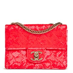 Chanel Fuchsia Sequin Embelished Mini Flap Bag