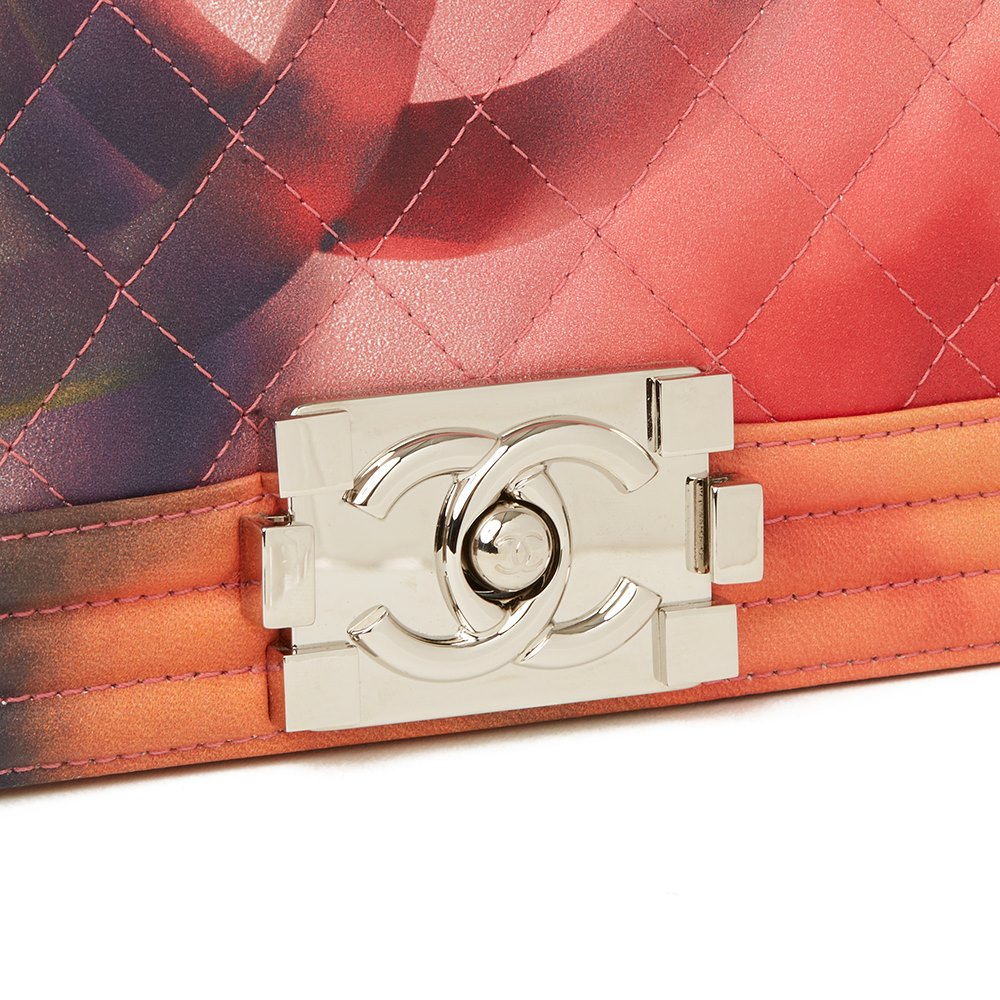 Chanel Multicolour Quilted Lambskin Leather Flower Power Small Le Boy