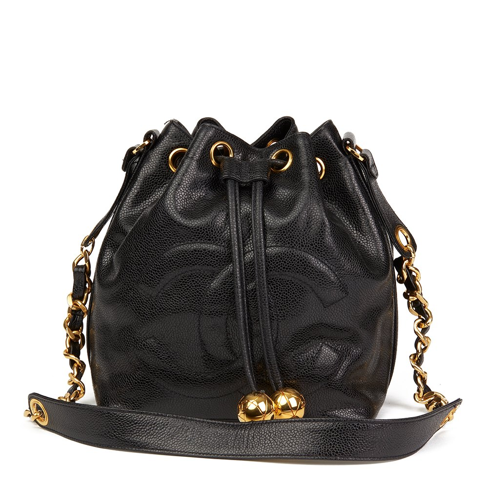 98e63726b11a0 Chanel Black Caviar Leather Vintage Timeless Bucket Bag