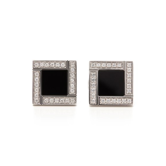 Bulgari 18k White Gold Onyx & Diamond Quadrato Cufflinks