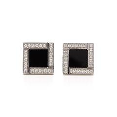 Bulgari 18k White Gold Onyx & Diamond Quadrato Cufflinks