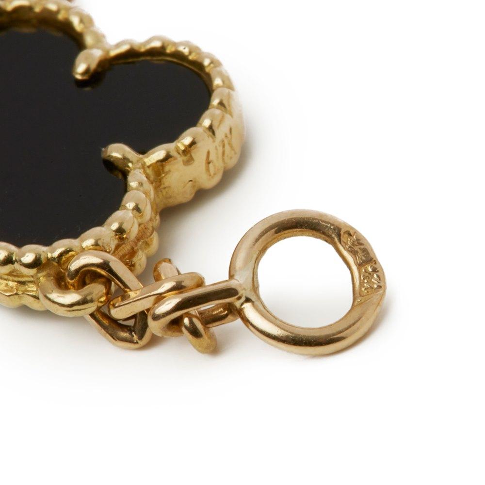 Van Cleef & Arpels 18k Yellow Gold Onyx Vintage Alhambra Necklace