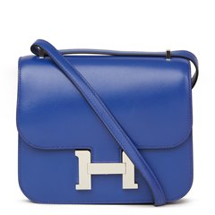 Hermès Blue Electric Tadelakt Leather Constance 18