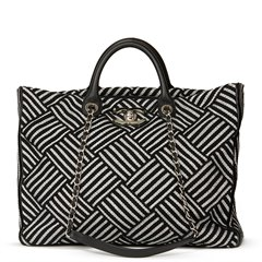 Chanel Black & Silver Woven Canvas Shopping Tote