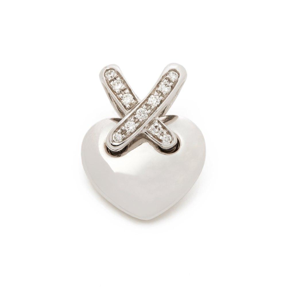 Chaumet 18k White Gold Diamond Liens Heart Pendant