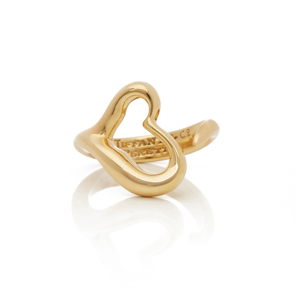 Tiffany & Co. 18k Yellow Gold Open Heart Elsa Peretti Ring