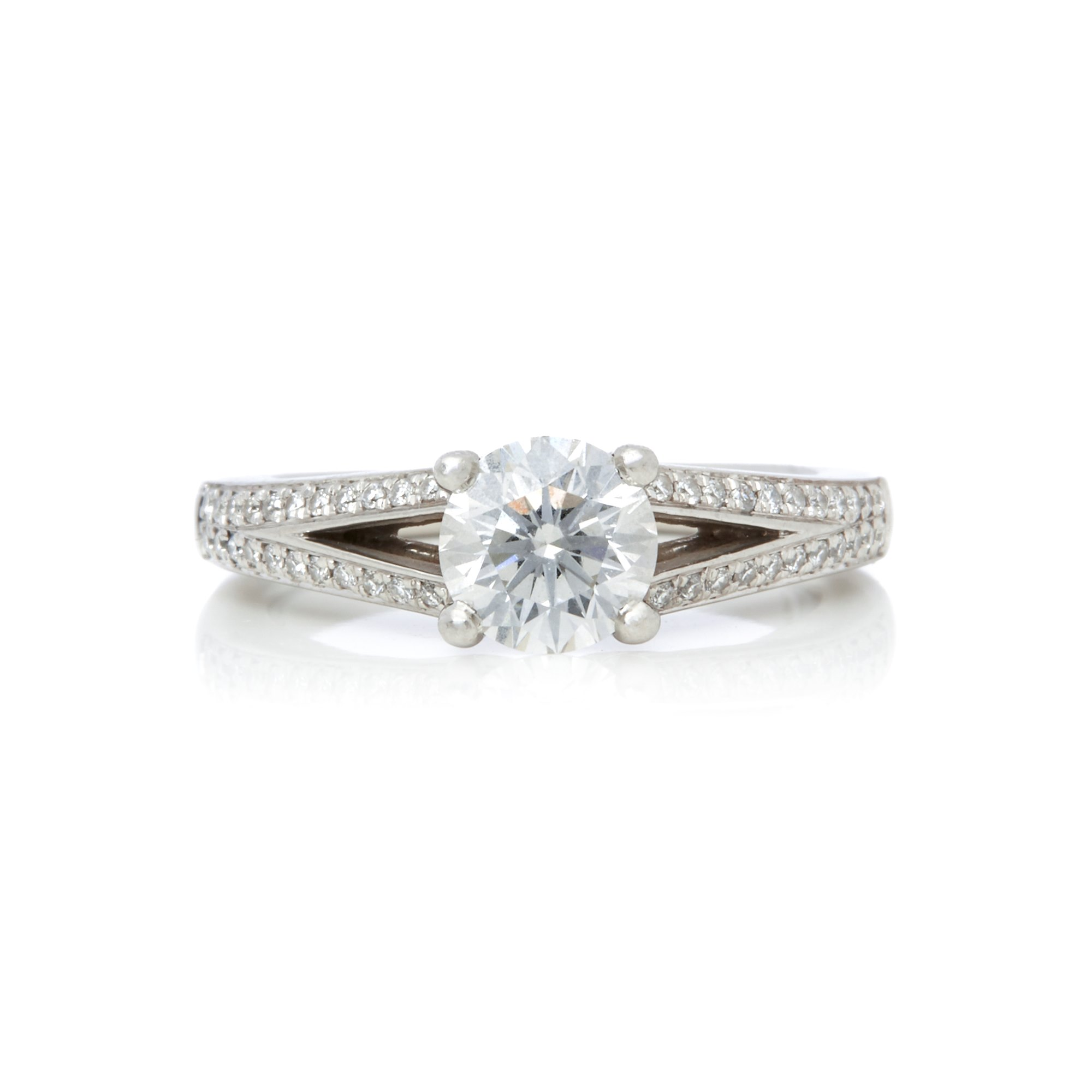 Diamond Platinum Round Brilliant Cut 0.82ct Diamond Engagement Ring
