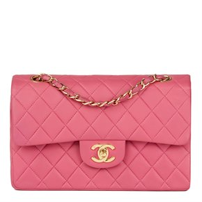 Chanel Pink Quilted Lambskin Small Classic Double Flap Bag
