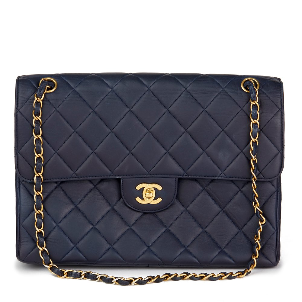 2669d2527d75 Chanel Navy Quilted Lambskin Vintage Jumbo Double Sided Classic Flap Bag