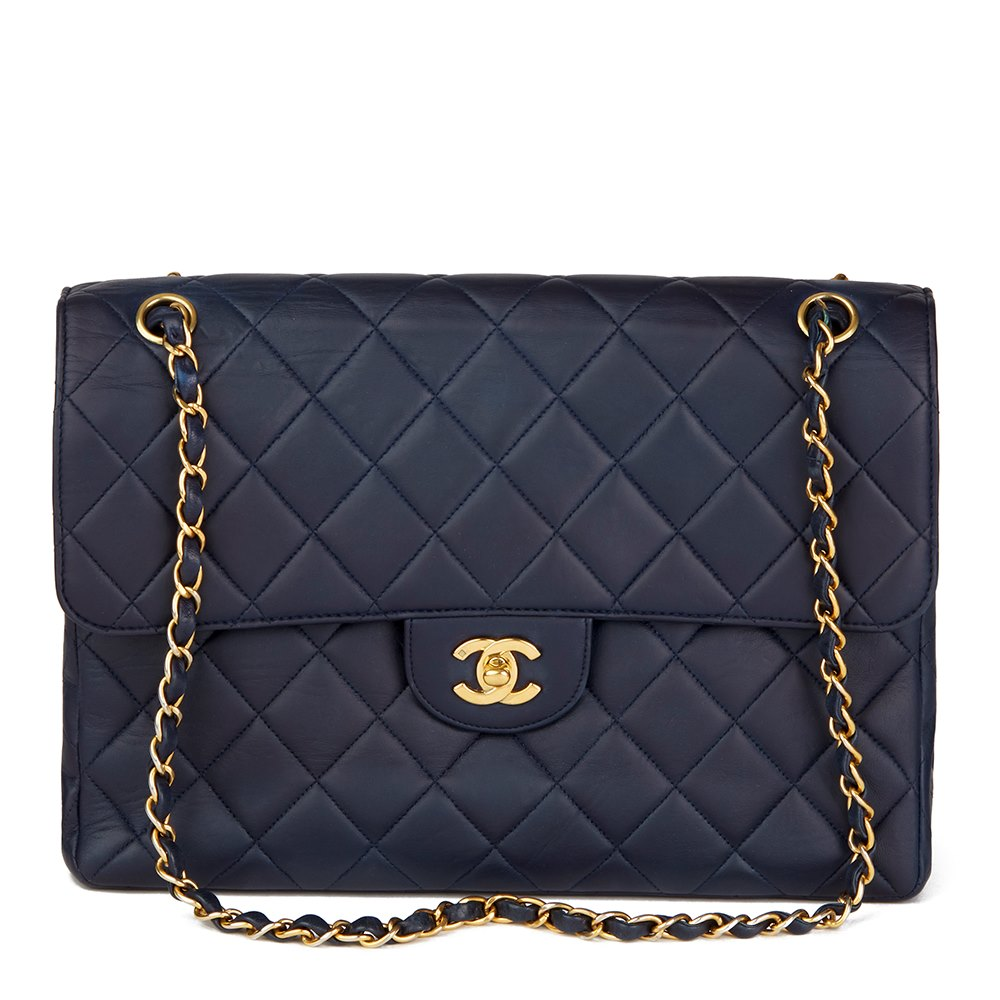 31a6dabcf906 Chanel Navy Quilted Lambskin Vintage Jumbo Double Sided Classic Flap Bag