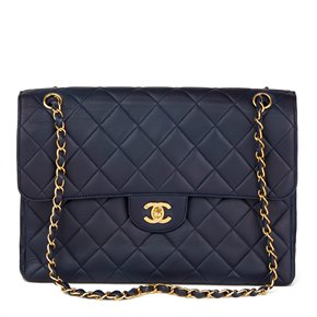 Chanel Navy Quilted Lambskin Vintage Jumbo Double Sided Classic Flap Bag