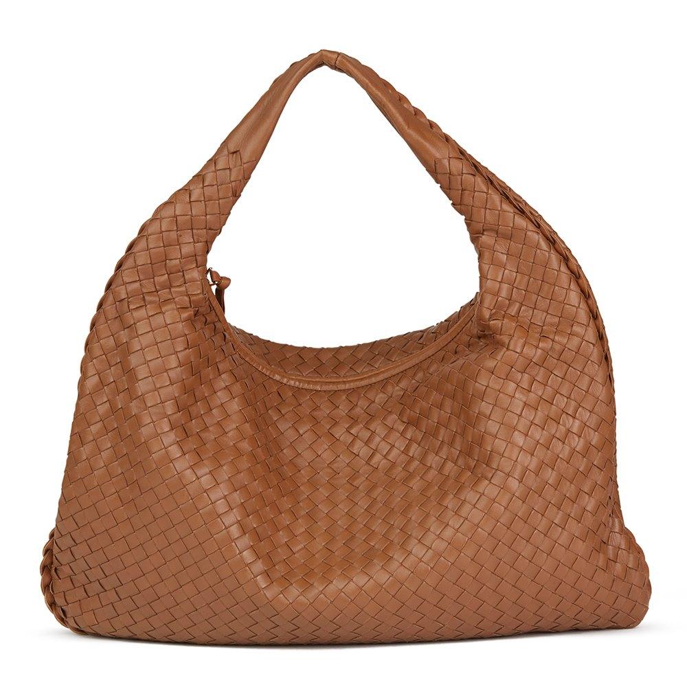 Light Brown Woven Lambskin Leather Medium Veneta Bag