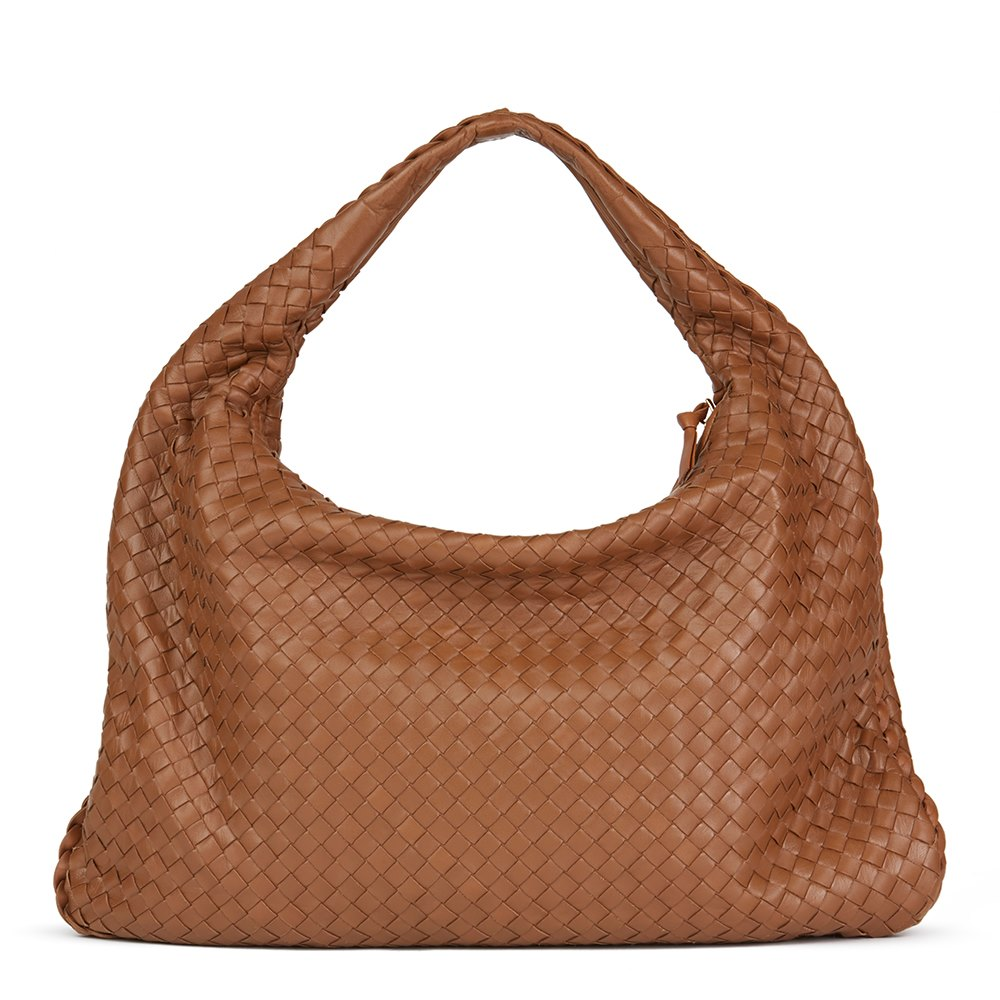 f4a788221c7d Bottega Veneta Light Brown Woven Lambskin Leather Medium Veneta Bag