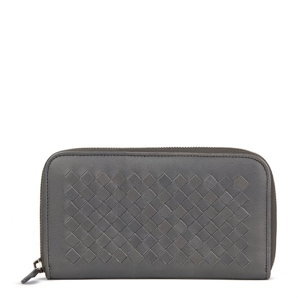 Bottega Veneta Grey Woven Lambskin Leather Zip Around Wallet