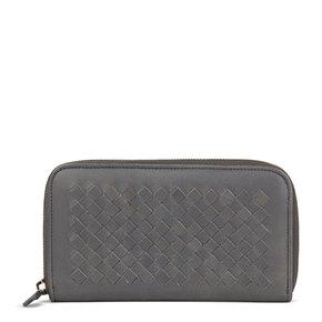 Bottega Veneta Grey Woven Lambskin Leather Zip Around Wallet