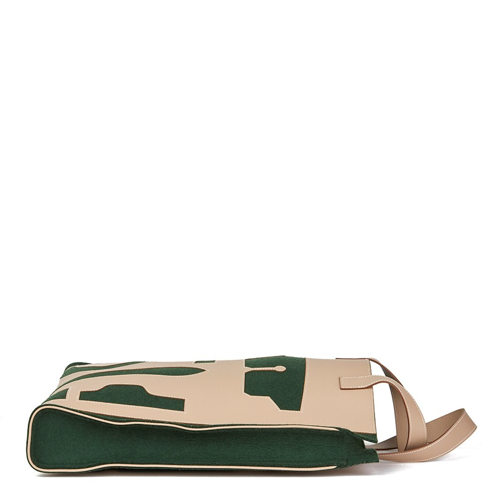 Hermès Etoupe Grain d'h Leather & Green Felt Petit H Vertical Skeleton Tote