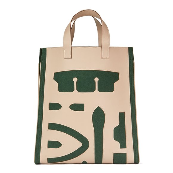 Hermès Etoupe Grain d'h Leather & Green Felt Petit H Vertical Skeleton Tote