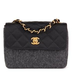 Chanel Grey Quilted Wool & Black Satin Vintage Mini Flap Bag