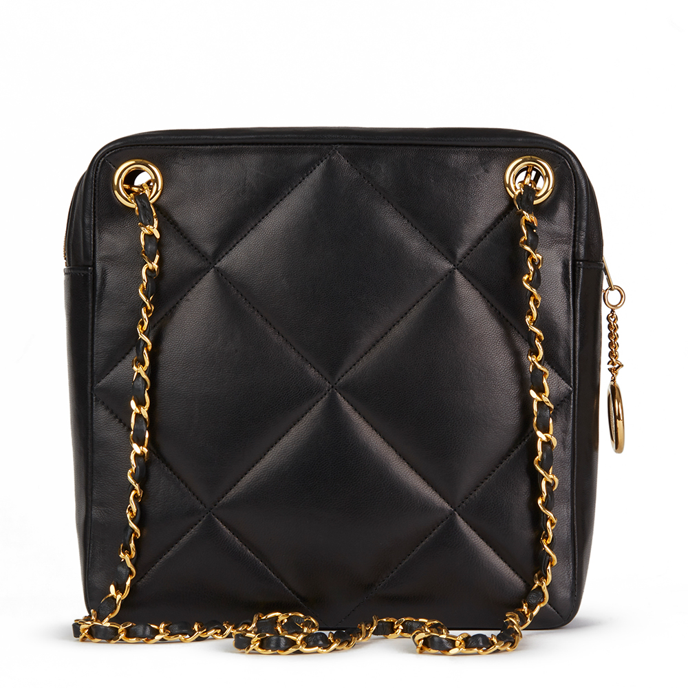 e3a740ad2e72 CHANEL BLACK QUILTED LAMBSKIN VINTAGE TIMELESS CHARM SHOULDER BAG ...