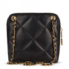 Chanel Black Quilted Lambskin Vintage Timeless Charm Shoulder Bag