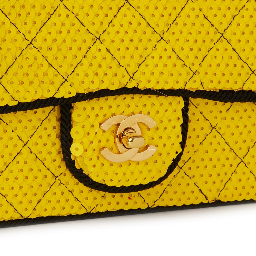 Chanel Yellow Quilted Sequin & Black Fabric Embellished Vintage Classic Single Flap Bag