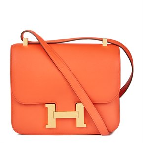 Hermès Orange Poppy Evergrain Leather Constance 24