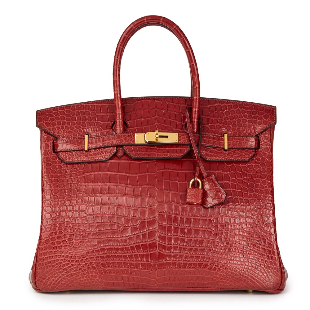 Hermès Rouge Cerise Matte Porosus Crocodile Leather Birkin 35cm