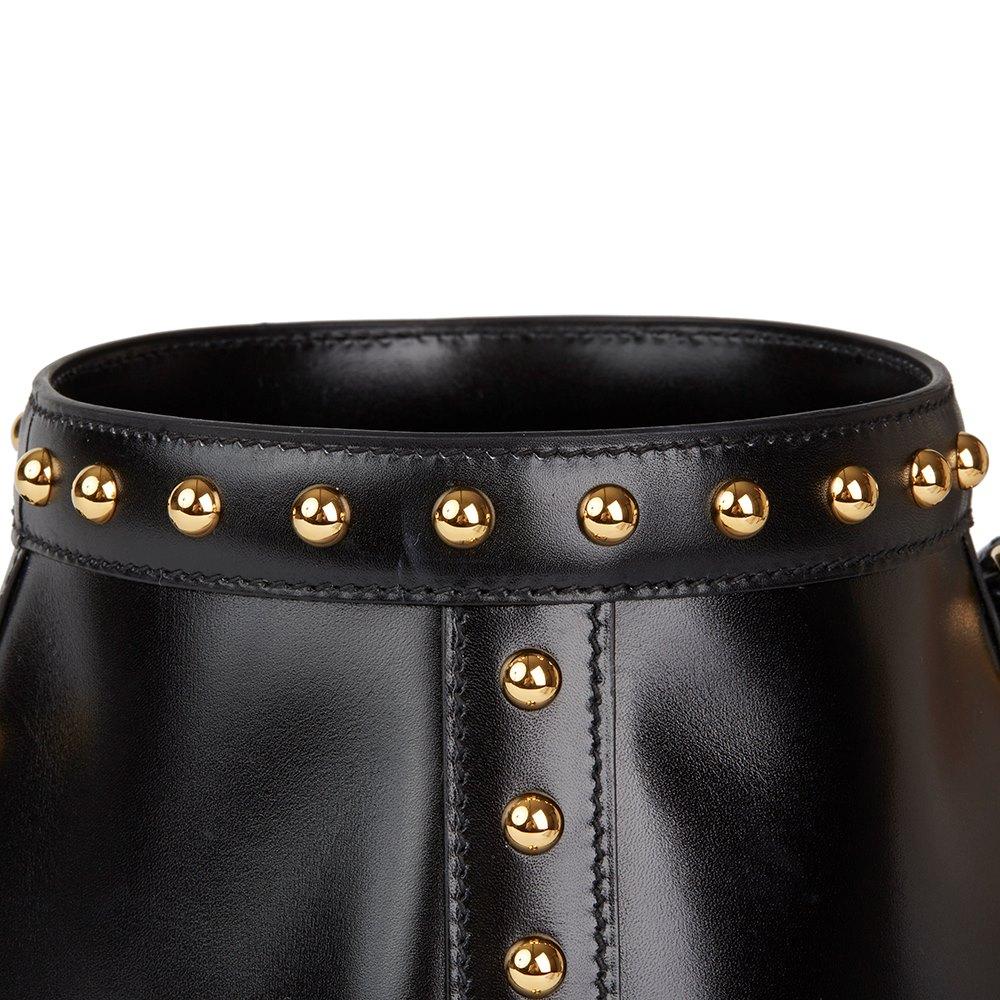 Hermès Black Box Calf Leather Clouté Farming Bucket Bag