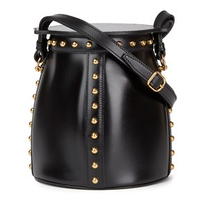 Hermès Black Box Calf Leather Clouté Farming Bucket Bag