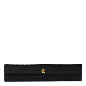 Chanel Black Quilted Satin Vintage Extra Long Classic Clutch