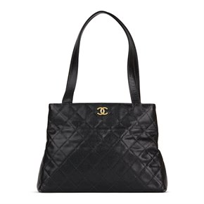 Chanel Black Quilted Caviar Leather Vintage Classic Shoulder Bag