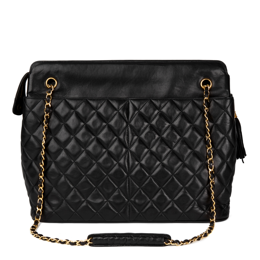 56ec837a4e3d CHANEL BLACK QUILTED LAMBSKIN VINTAGE TIMELESS FRINGE SHOULDER BAG ...